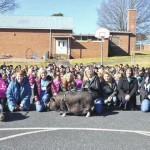 School leaders smooch pigs for fundraiser