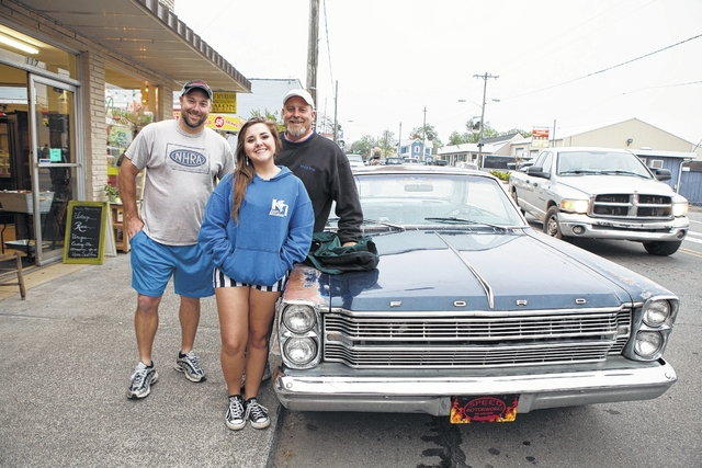 Greg Bryer Left Lauren And Gary Brown Of Pilot Mountain Pose With The S 1966 Ford Galaxy Fast Back At Hot Nights Cars Cruise In Held