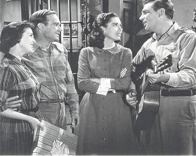 this is a scene from the christmas story episode of the andy griffith show with from left margaret kerry sam edwards elinor donahue and andy - Andy Griffith Show Christmas Story