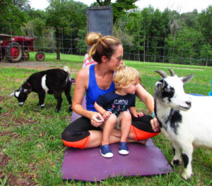 Folks try yoga with baby goats