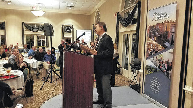 Curtis Taylor smiled at the audience as he took a moment to collect his thoughts just seconds after being named Citizen of the Year by the Grand Mount Airy Chamber of Commerce.  John Peters |  News from Mount Airy