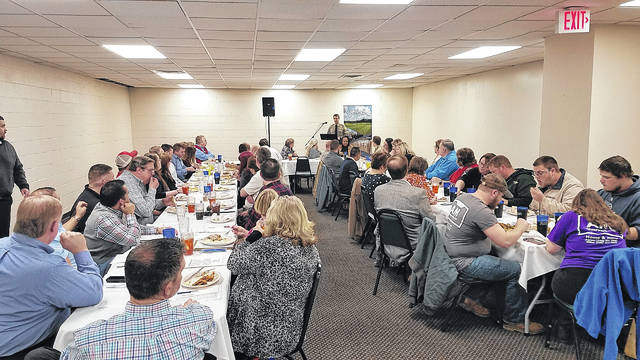 About 60 people were on hand Thursday at the Mountain View Restaurant in Pilot Mountain for a Lunch with Executives program sponsored by the Grand Mount Airy Chamber of Commerce and the Pilot Mountain Business Council.  John Peters |  News from Mount Airy