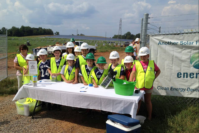 <p>School children from Mount Airy City Schools visit another solar farm in the county.</p> <p>Mount Airy City Schools</p>